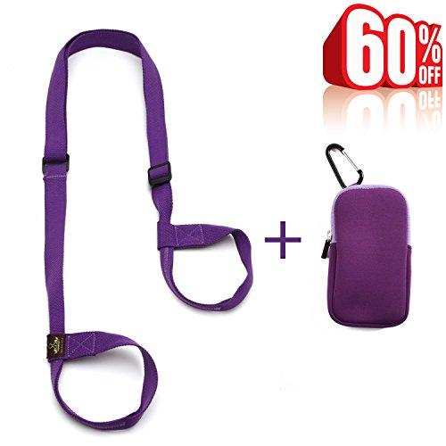 Heathyoga Yoga Mat Strap Sling, Free Pocket Bag for Phones and Keys, 100% Organic Cotton, Adjustable Yoga Strap Yoga Mats and Excecise Mats.