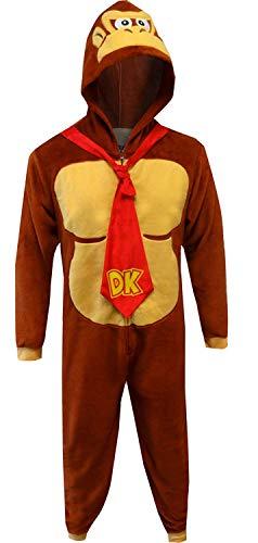 Disney Men's Donkey Kong COS Play ONE Piece Pajama Union Suit, Brown, -