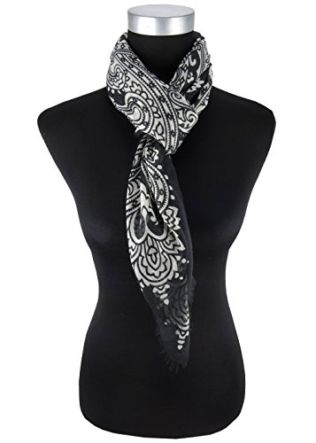 foulard en noir gris Pailsey à motifs avec franges - taille 90 x 90 cm
