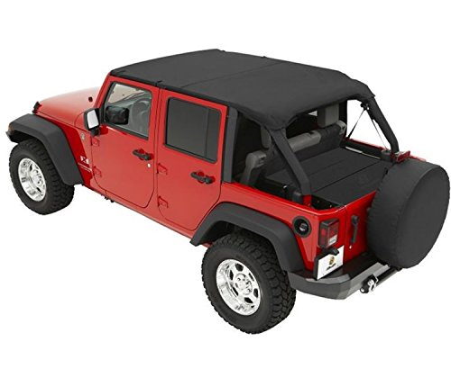 Bestop 52581-35 Header-style Safari Bikini Black Diamond Top for 2007-2009 Wrangler JK Unlimited (Bestop Bikini Top Safari Header)