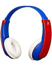 JVC HA-KD9BT Tinyphones draadloze hoofdtelefoon voor jongens en meisjes, hoofdtelefoon met verstelbare hoofdband, Bluetooth-verbinding en geluidsbegrenzing, tot 12 uur batterijduur, blauw en rood