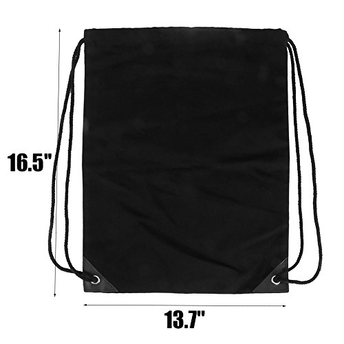 Peicees Drawstring Backpack Canvas Gymsack Drawstring Bag Sport Sackpack Travel School Backpack for Men Women Boys and Girls(Plain Black) by Peicees (Image #4)