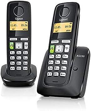 Gigaset AS350 Duo - Teléfono (Teléfono DECT, Terminal inalámbrico, 80 entradas, Negro): Amazon.es: Electrónica