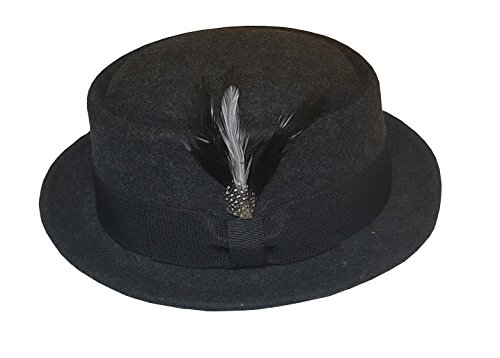 100% Wool Felt Hats (Men's Crush-able Wool Felt PorkPie Pork Pie Fedora Hats With Feather DTHE09 (S/M, Charcoal Gray))