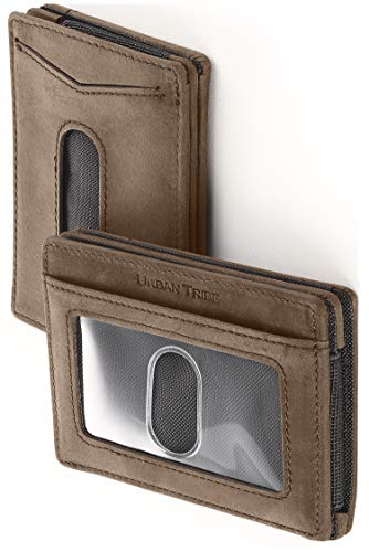 Compact RFID Card Sleeve Wallet Premium Leather Money Clip Card Holder for Up to 10 ()