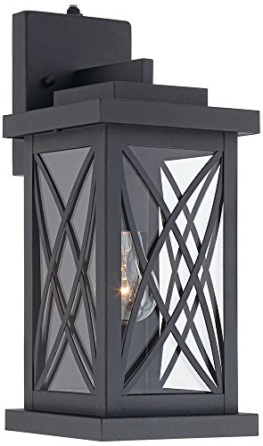 Woodland Park Black 15H Dusk to Dawn Outdoor Light