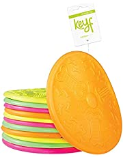 KEYF Flyer Dog Toy - Durable Rubber - Flying Disc - Frisbee - Suiatble for Small , Medium and Large Breeds Dogs - Mixed Color -Puppy Training Frisbee
