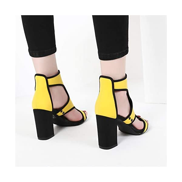 MACKIN J 197-2 Women's Chunky Heel Sandals Open Toe Sandals with Front Zipper