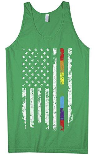 Threadrock Men's Gay Pride Rainbow American Flag Tank Top 2XL Kelly Green ()