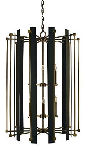 Framburg Lighting 4806 AB/MBlack Louvre - Twelve Light Chandelier, Antique Brass/Matte Black Finish