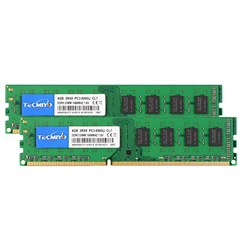 - TECMIYO 8GB Kit (2x4GB) DDR3 1066MHz UDIMM PC3-8500 PC3-8500U Non ECC Unbuffered 1.5V CL7 2RX8 Dual Rank 240 Pin Desktop Memory Ram Module-Green