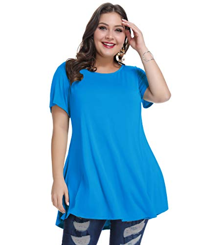 MONNURO Womens Short Sleeve Casual Loose Fit Flare Swing Tunic Tops Basic T-Shirt Plus Size(Deep Sky Blue,L)