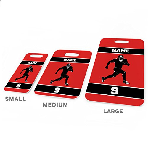 Football Luggage & Bag Tag | Personalized Football Running Back | Standard Lines on Back | MEDIUM | RED/BLACK by ChalkTalkSPORTS (Image #2)