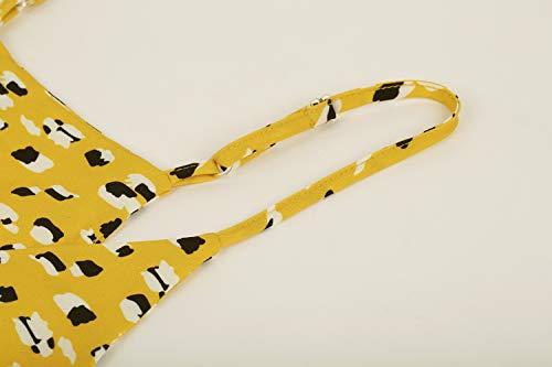 Valphsio Womens Ruffle Cami Blouse V Neck Ruffle Peplum Adjustable Strap Crop Top Yellow