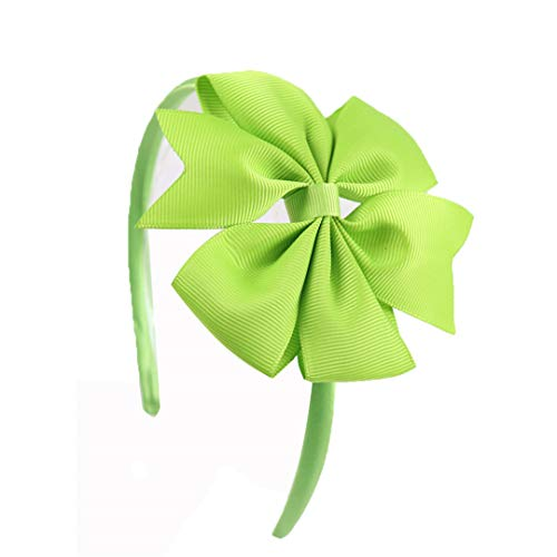 4 Inch Girls Bow Hairband Children's Candy Colors Pinwheel Hair Band With Grosgrain Ribbon Bow Handmade Solid Hair Accessories apple green