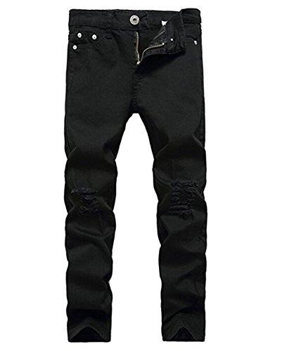 OBT Boy's Black Stretch Skinny Fit Ripped Destroyed Distressed Fashion Slim Denim Jeans 12