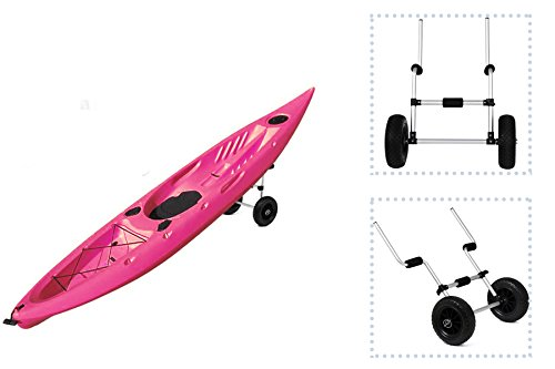 eXXtra Store Canoe Kayak Scupper Adjustable Aluminum Dolly Cart Carrier Trolley Sit-On-Top + eBook by eXXtra Store
