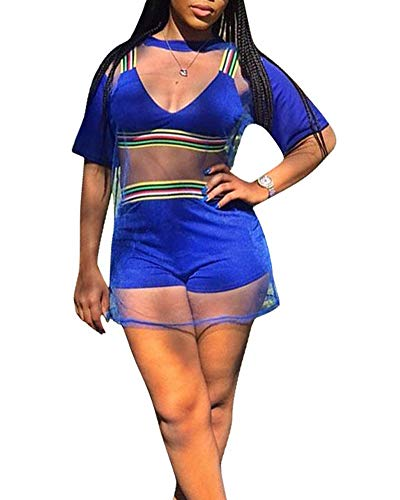 Womens Sexy 3 Piece Outfits - Short Sleeve Strap Stripe Rompers Crop Top Shorts Set with Mesh Cover Up Shirt Blue 3 Piece Shorts Outfit
