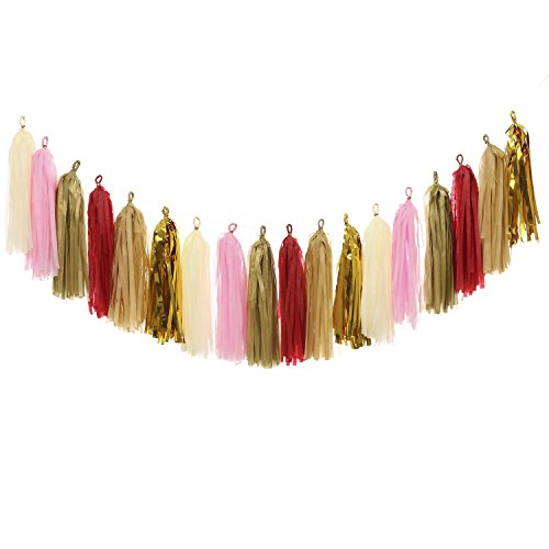 Ling's moment Tissue Paper Tassels, Tassel Garland for Wedding, Baby Shower, Festival Items & Party Decoration, 15 pcs DIY Kits - (Metallic Gold+Gold+Red+Ivory+Tan+Baby Pink)