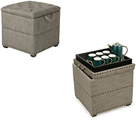 Tufted Storage Ottoman Square Footrest Stool Coffee Table