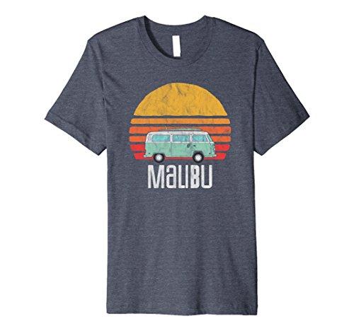 Mens Retro Malibu, California Hippie Van Beach Bum Surfer T-Shirt 2XL Heather Blue (Hippy Van)
