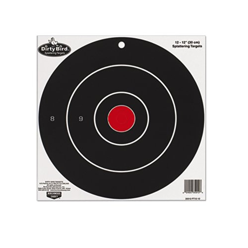 Birchwood Casey 12 inch Dirty Bird Bull's Eye Splattering Target 100 - Sheet Pack Dirty Bird Splattering Targets
