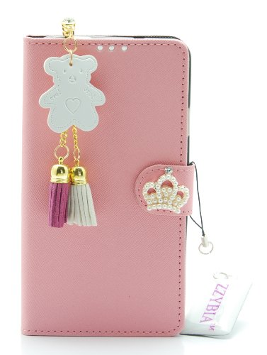 ZZYBIA® NOTE III 3 TCB Pink Leatherette Stand Case Card Holder Wallet with Off White Bear Fringed Dust Plug Charm for Samsung Galaxy Note III 3 N9000 N9005