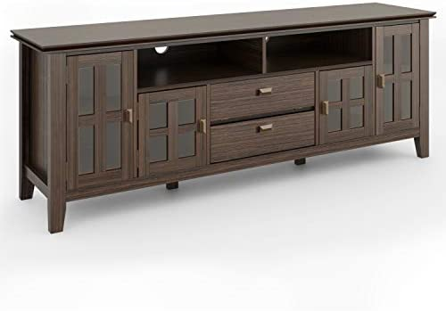 Simpli Home Artisan SOLID WOOD Universal TV Media Stand, 72 inch Wide, Contemporary,Entertainment Center, Storage Cabinet with Glass Doors, for Flat Screen TVs up to 80 , Farmhouse Brown