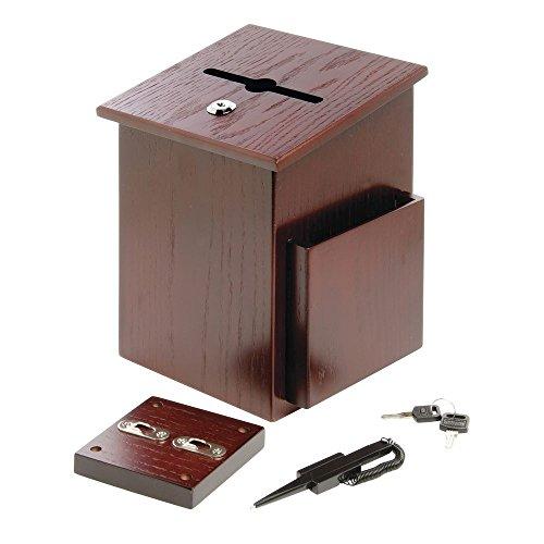 Suggestion Box Donation Box Ballot Box Wooden Mahogany - 7 1/2 L x 7 1/4 W x 10