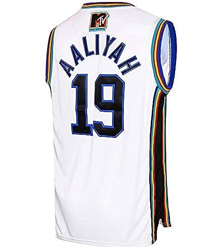 Aaliyah # 19 \Camiseta de Baloncesto de Capas de ladrillo 1996 MTV ...