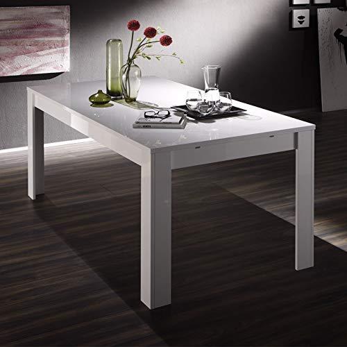 Tousmesmobili - Mesa de Comedor Extensible lacada Blanco Brillante ...