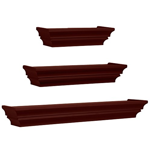 Kiera Grace Madison Contoured Wall Ledges, 12 Inch, 16 Inch, 24 Inch, Espresso, Set of 3 (Ledge Shelving)
