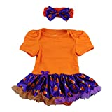 Newborn Infant Baby Toddlers Girls My 1st Halloween Pumpkin Skull Rompers Bodysuit Cake Crown Tutu Dress Headband #1-Orange+Purple Pumpkin 6-12 Months