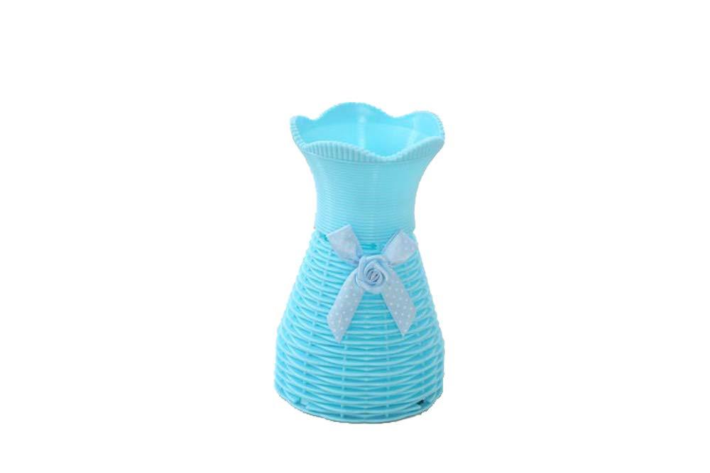 Happy E-life 高さ7インチ プラスチック ラタン花瓶 リトルフラワーバスケット ホームデコレーション フラワーアレンジメント 造花 ブルー B07GR3RY2S ブルー