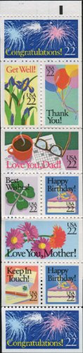 Us Stamps Booklet Pane - SPECIAL OCCASION ~ GET WELL ~ HAPPY BIRTHDAY ~ THANK YOU ~ BEST WISHES ~ CONGRATULATIONS #2274a Booklet Pane of 10 x 22¢ US Postage Stamps