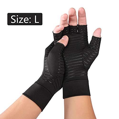 muxiao Luvas de compressão de artrite de fibra preta para mulheres Homem Luva de compressão de mão reumatóide para…