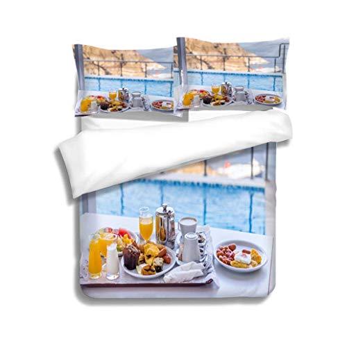 (VROSELV-HOME Cotton Bedding Sets,Idyllic Breakfast,Soft,Breathable,Hypoallergenic,Kids Bedding-Does Not Shrink or Wrinkle)