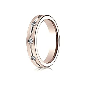 14k Rose Gold 6mm Comfort-Fit Etched Burnish Set 8-Stone Diamond Eternity Ring (.32ct) - Size 10
