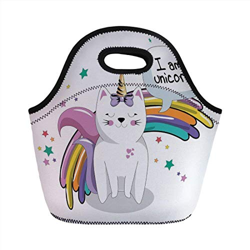 Portable Bento Lunch Bag,Unicorn Cat,Fairy Animal with Ice Cream Cone Bow Stars and Rainbow Kids Imagination Fiction Decorative,Multicolor,for Kids Adult Thermal Insulated Tote Bags -