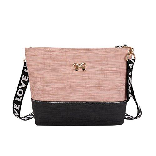 Cross Body Bag, Femmes Sac à bandoulière en cuir Messenger Sac fourre-tout sac à main-BZLine -25 × 18cm- Ptachwork, Bowtie- Sac à bandoulière de bande de lettre pink