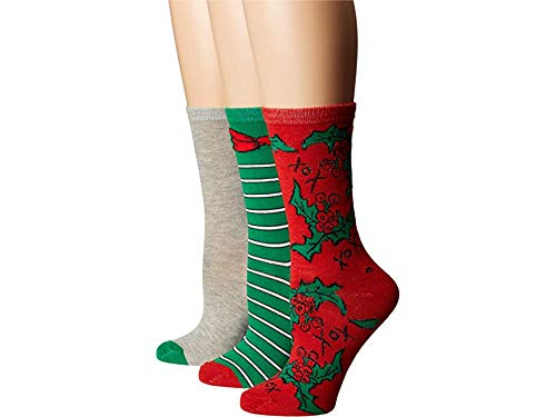 - Betsey Johnson Women's Holly, Stripe and Solid Crew Box BJ42414, red, grey/green, One Size