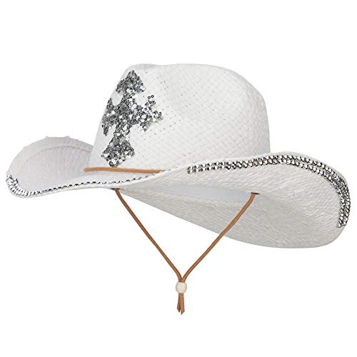 Cross Design Stones Straw Cowboy Hat (One Size, White)