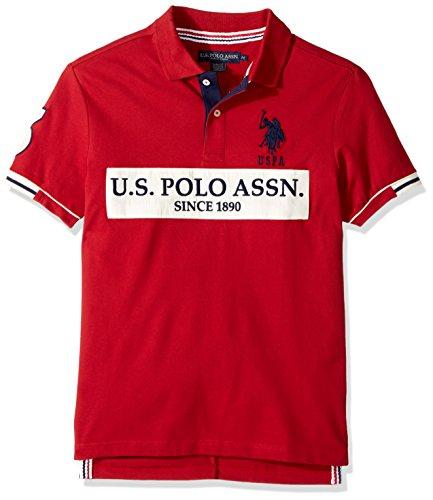 U.S. Polo Assn. Men's Slim Fit Color Block Short Sleeve Stretch Pique Polo Shirt, 8516-Apple Cinnamon, XL
