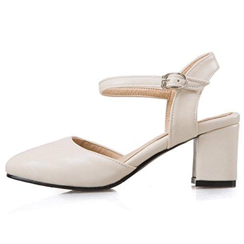 COOLCEPT Damen Mode Knochelriemchen Sandalen Blockabsatz Slingback Geschlossene Schuhe Gr Beige