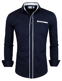 TAM WARE Mens Premium Casual Inner Contrast Dress Shirt TWNMS310-1-CMS03-NAVY-US XL
