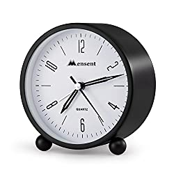 Alarm Clock.Mensent 4 inch Round Silent Analog Alarm Clock Non Ticking,with Night Light, Battery Powered Super Silent Alarm Clock, Simple Design Beside/Desk Alarm Clock (Black)