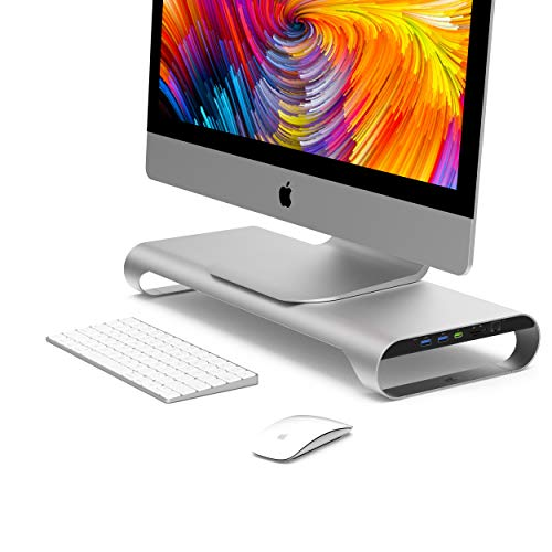 MONITORMATE ProBASE X Aluminum Monitor Stand with QC/PD Fast-Charging Port(Compatible with iPhone 8/X/Xr/Xs/Xsmax),Ethernet Port,USB3.0 Hub, SD/MicroSD Card Reader and External Power Supply(Silver)