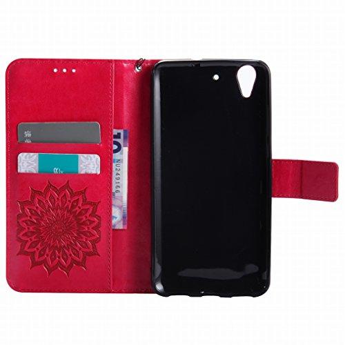 LEMORRY Huawei Honor Holly 3 / Y6 II Custodia Pelle Cuoio Flip Portafoglio Borsa Sottile Bumper Protettivo Magnetico Morbido Silicone TPU Cover Custodia per Huawei Y6 II, Fiorire Rosso