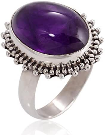925 Oxidized Sterling Silver Natural Amethyst Gemstone Oval Shaped Vintage Band Ring 6, 7, 8