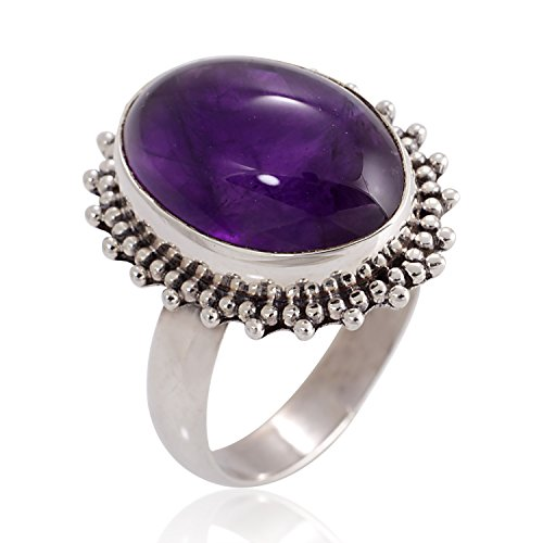 Chuvora 925 Oxidized Sterling Silver Amethyst Gemstone Oval Shaped Vintage Band Ring Size 9